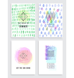 Hand drawn watercolor set of cards vector image vector image