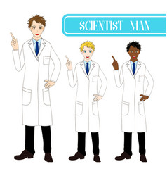 Scientist man pointing up with happy face vector
