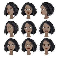 Set of emotions of the same black girl vector image