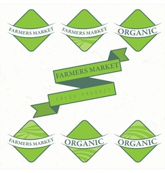 Set of farm labels vector image