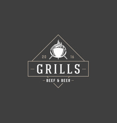 barbecue logo template object for logotype vector image