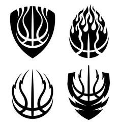 Basketball icon emblems set vector