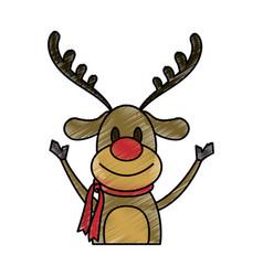 color pencil cartoon half body reindeer with scarf vector image