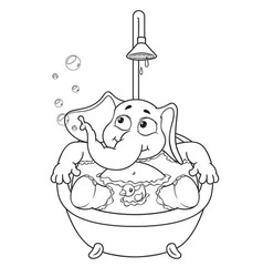 elephant taking a bath cartoon vector image vector image