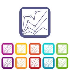 financial statistics icons set vector image vector image
