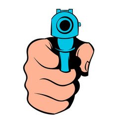 hand pointing with the gun icon icon cartoon vector image vector image