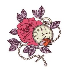 Rose Clock Tattoo Design vector image