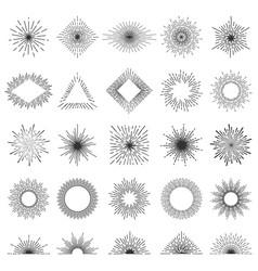 set of 25 line light rays sunburst vector image