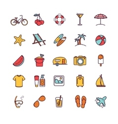 summer thin line icons vector image vector image