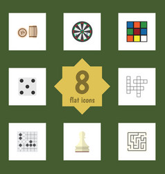 flat icon games set of gomoku pawn backgammon vector image