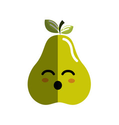 Kawaii cute happy pear fruit vector