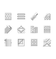 linoleum service flat line icons set vector image