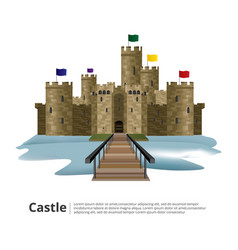medieval castle with hight tower and wall vector image