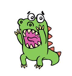 scared dinosaur vector image vector image