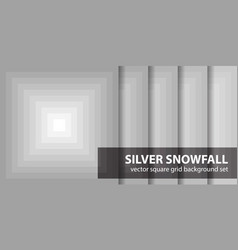 Square pattern set silver snowfall seamless vector