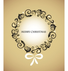 vintage christmas wreath with retro ornaments vector image