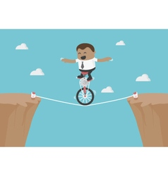 Young African businessman balancing on the rope vector image