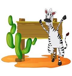 Zebra and wooden sign in desert field vector image vector image
