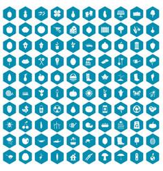 100 garden icons sapphirine violet vector