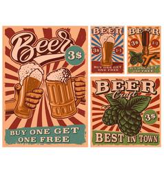 A set vintage beer posters vector