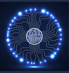 Abstract neon sign fingerprint with circuit board vector
