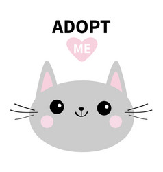 adopt me dont buy gray cat round head silhouette vector image