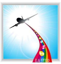 Aircraft release easter eggs on rainbow vector