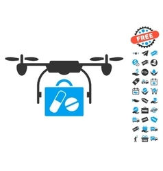 Airdrone Pharmacy Delivery Icon With Free Bonus vector image vector image