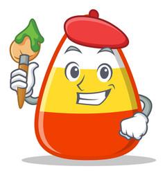 Artist candy corn character cartoon vector
