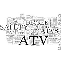 Atv safety text word cloud concept vector