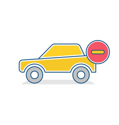 Auto icon car stop traffic sign vector