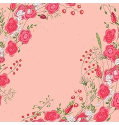 Backdrop with roses and herbs Red and pink color vector image