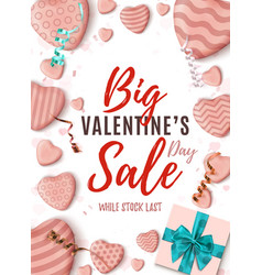 Big valentines day sale vertical poster abstract vector