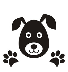 Black dog head vector