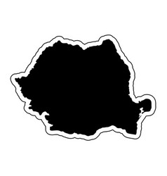 black silhouette of the country romania with the vector image