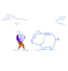 businessman investing dollar coin piggy bank money vector image