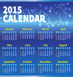 Calendar 2015 blue colour vector