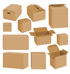 cardboard box mockup set realistic style vector image