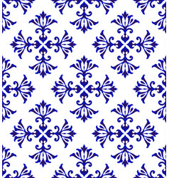 ceramic floral blue pattern vector image