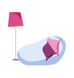 chair cushions and floor lamp decoration isolated vector image