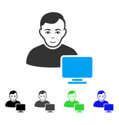 Cheerful computer administrator icon vector
