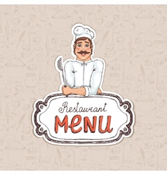 Chef Holding Spoon on Restaurant Menu vector image