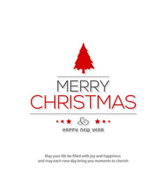 christmas greetings card with with simple white vector image