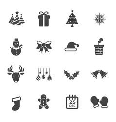 christmas party icon set flat design xmas and vector image