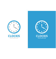 clock logo combination time and watch vector image