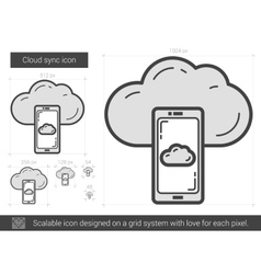 Cloud sync line icon vector
