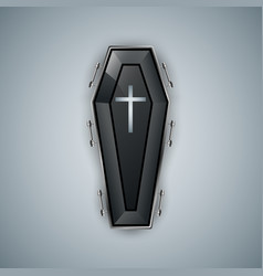 Coffin logo on the grey bacground vector