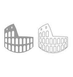 coliseum icon grey set vector image