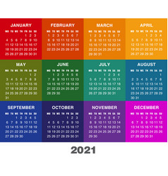 colorful calendar for 2021 year week starts vector image