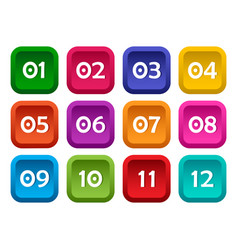 Colorful set square buttons with numbers from vector